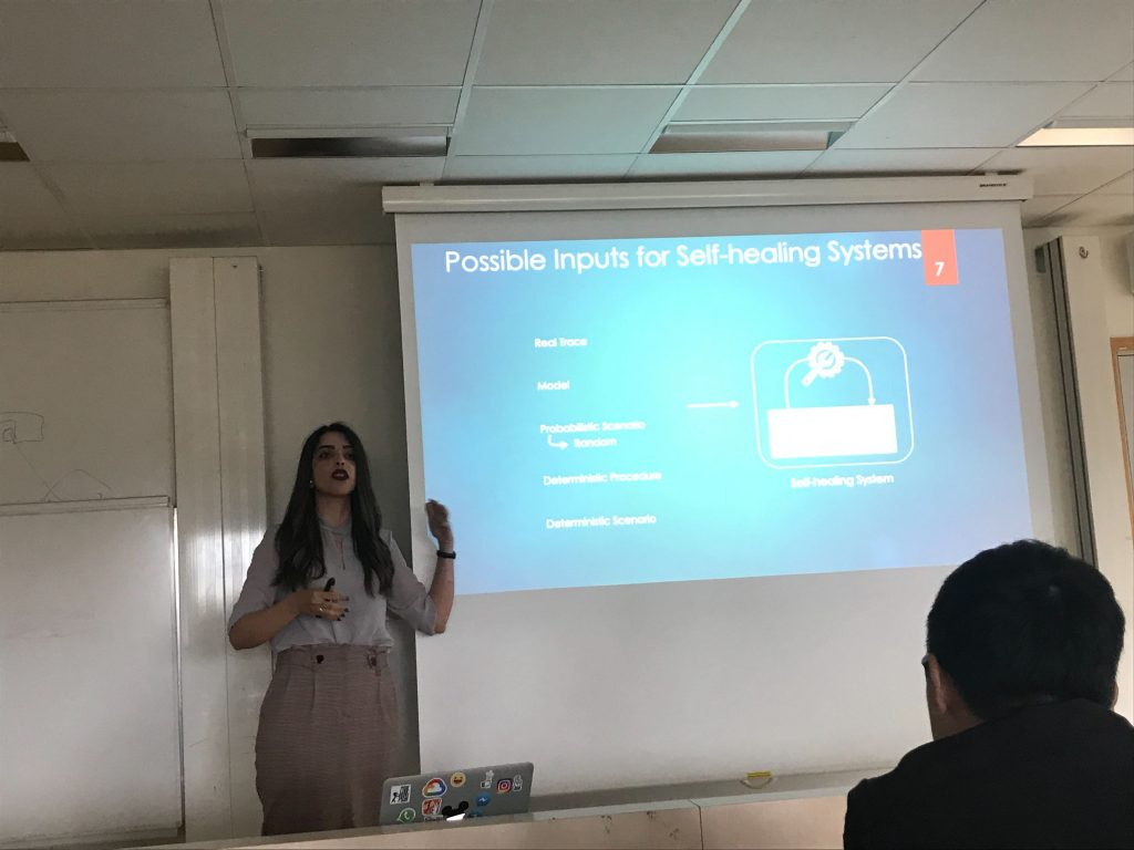 """Sona Ghahremani from the Hasso Plattner Institute at the University of Potsdam presenting her work entitled """"Performance Evaluation for Self-Healing Systems: Current Practice & Open Issues""""."""