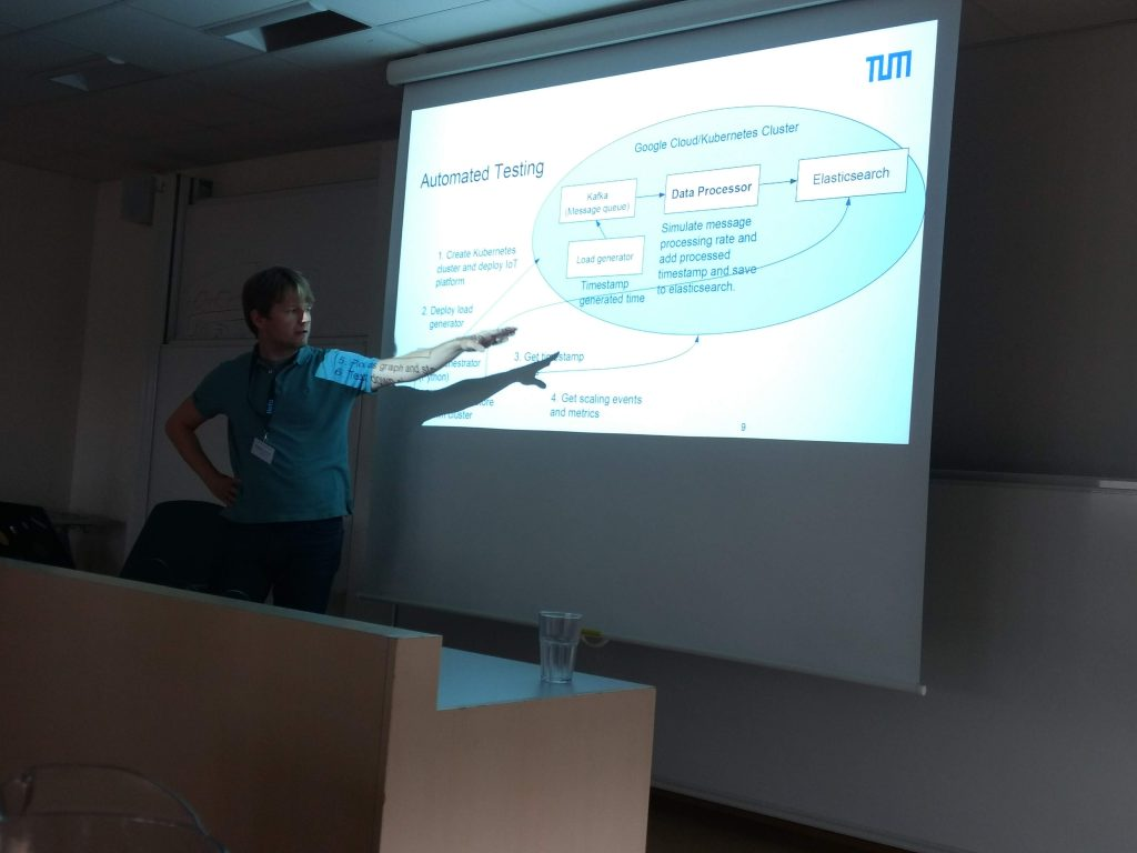 """Presentation on """"Metrics for Self-Adaptive Queuing in Middleware for Internet of Things"""" hold by Podolskiy from the Technical University of Munich."""